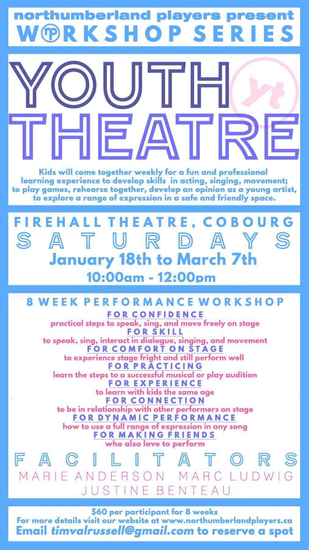 Workshop...Theatre Classes for Youth @ Firehall Theatre..3rd Floor..Halligan Rm